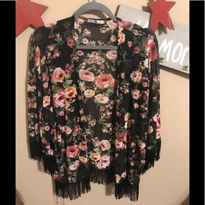 Other - Floral w/ fringe all around sleeve and bottom.